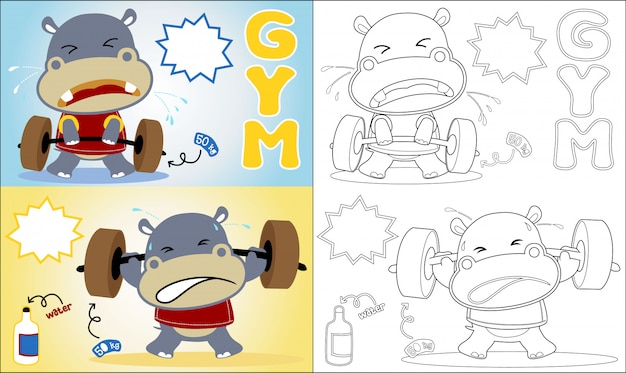 Coloring book with hippo cartoon the funny lifter Premium Vector