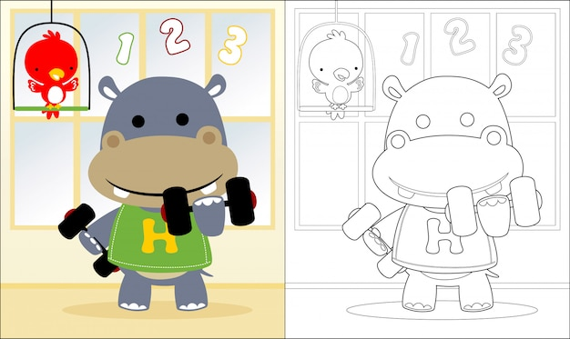 Coloring book with hippo lifting barbell Premium Vector