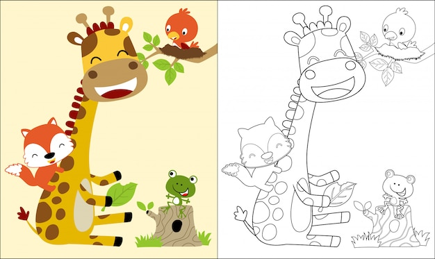 Coloring book with nice giraffe cartoon and friends Premium Vector