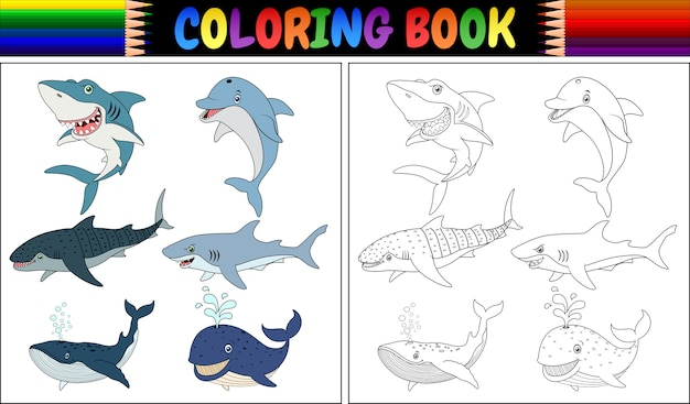 Coloring Book With Sea Animals Collection Premium Vector