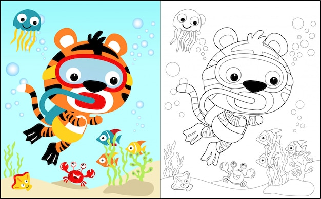 Coloring Book With Tiger Underwater Vector Premium Download