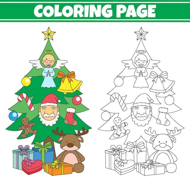 クリスマスツリーの着色 Premiumベクター