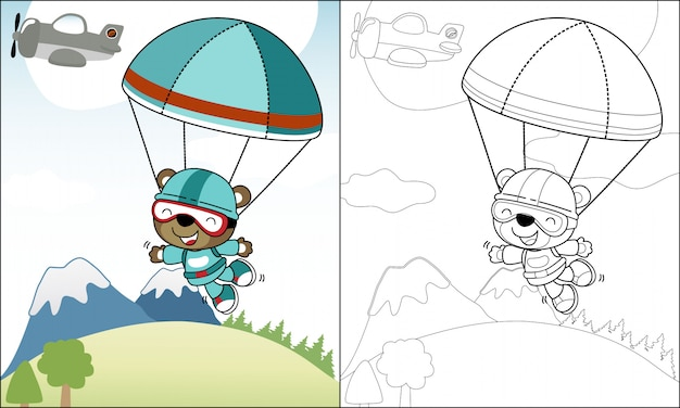 Coloring funny skydiver cartoon Premium Vector