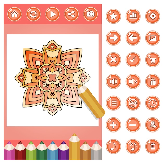 Coloring mandala flower for adults and color pencils set Premium Vector