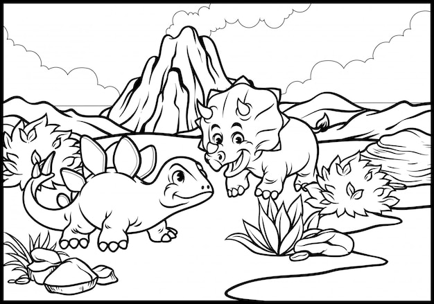 Coloring page of cartoon triceratops and stegosaurus Premium Vector