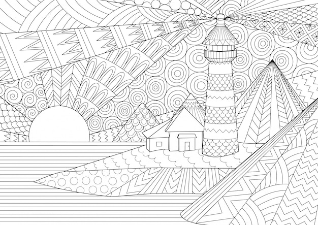 Coloring page. coloring book for adults. Premium Vector