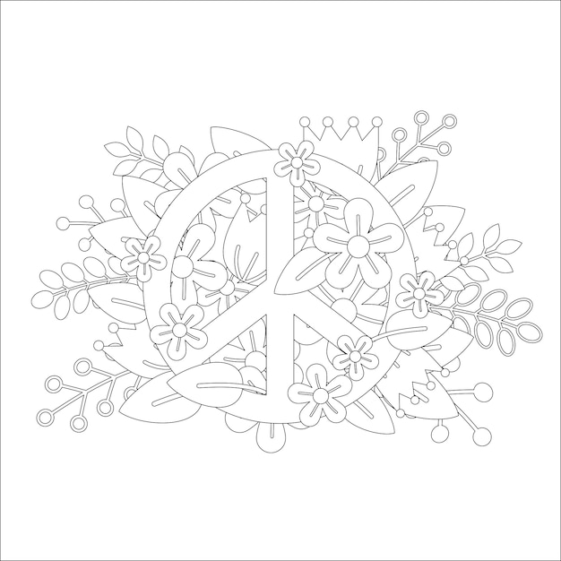 Coloring page design with peace symbol Premium Vector
