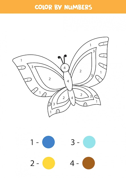 Premium Vector Coloring Page For Kids Cute Cartoon Butterfly