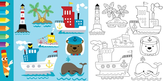 Coloring page of sailing theme cartoon with funny animals Premium Vector