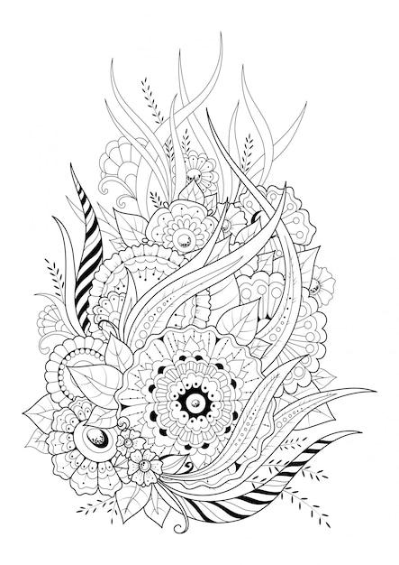 抽象的な花と長い葉の着色のページ。黒と白のベクトルの背景。 Premiumベクター