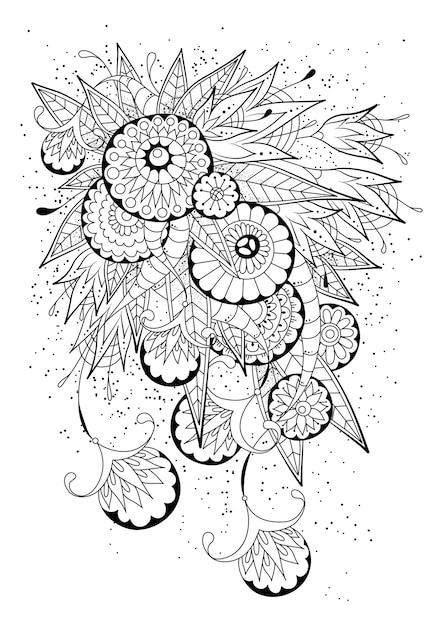 抽象的な丸い花とつぼみの着色のページ。黒と白のイラスト。 Premiumベクター