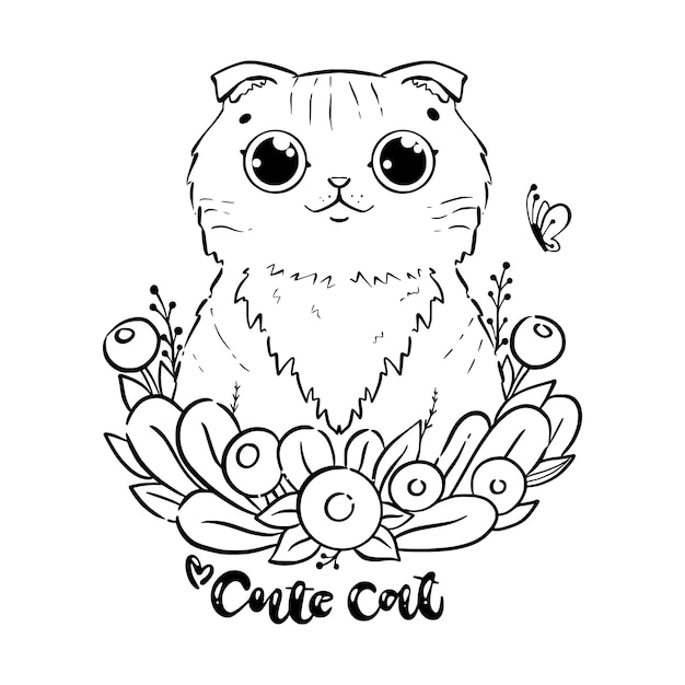 Coloring page with cartoon cat with abstract flowers. Premium Vector