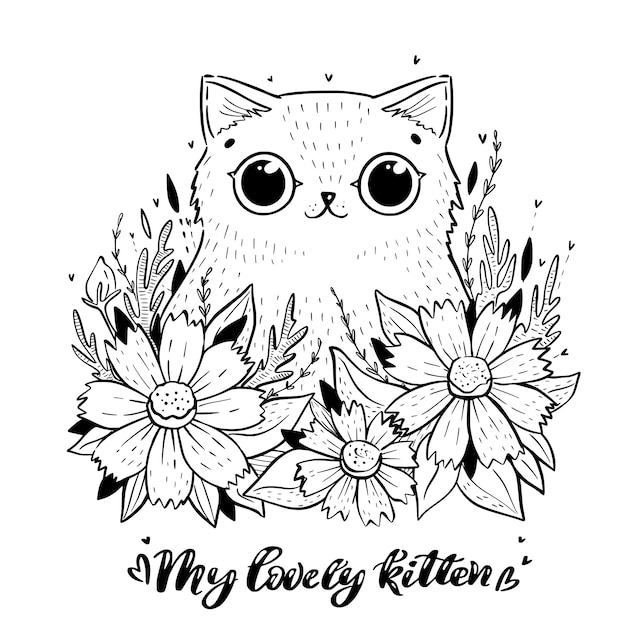 Coloring page with cartoon cat with cosmos flowers Premium Vector