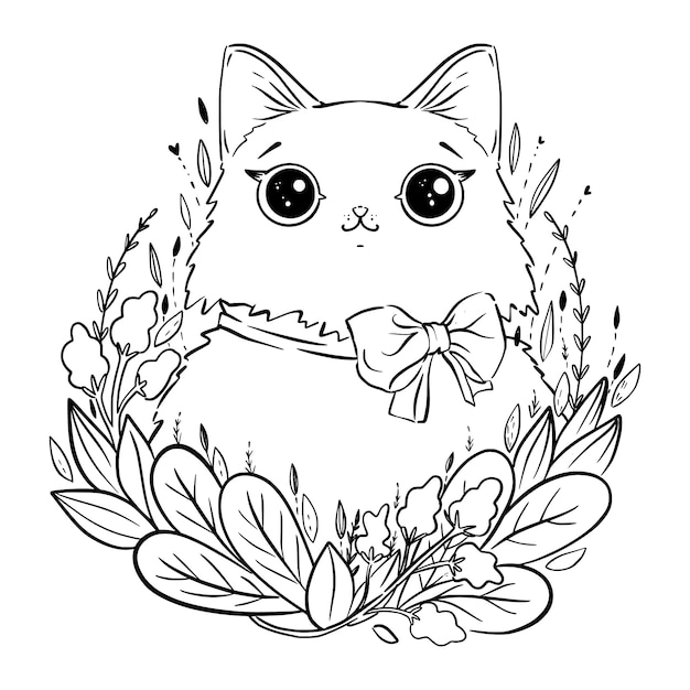 Coloring page with cartoon fluffy cat with flowers and bow ...