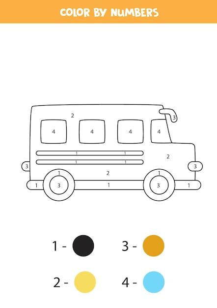漫画のスクールバスでページを着色します。数字で色分け。子供のための数学のゲーム。 Premiumベクター