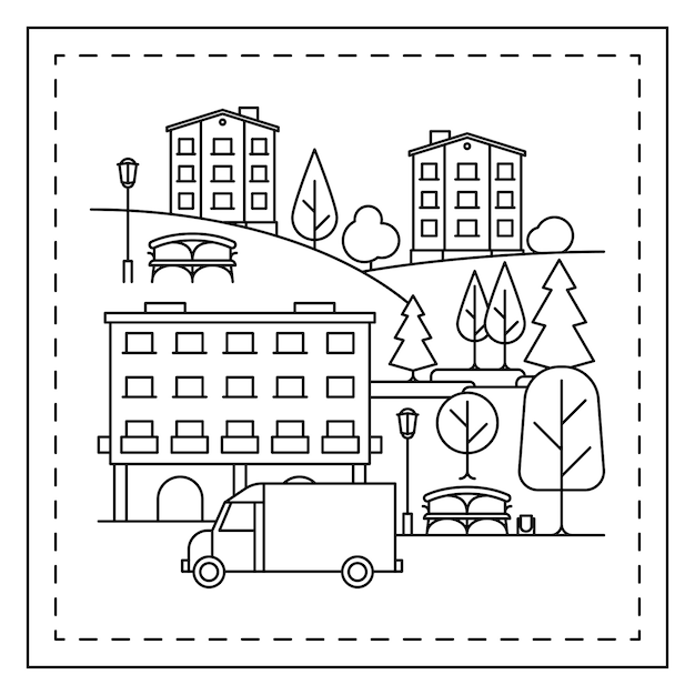 Coloring page with city landscape Premium Vector