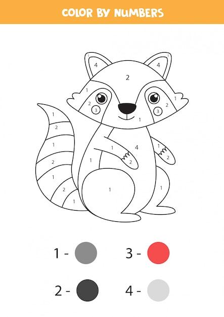Premium Vector Coloring Page With Cute Cartoon Gray Raccoon