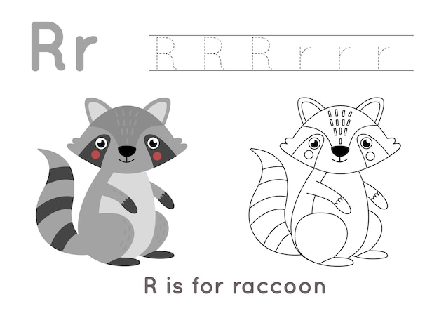 Premium Vector Coloring Page With Cute Cartoon Raccoon Alphabet Tracing Worksheet With Letter R Handwriting Practice For Kids