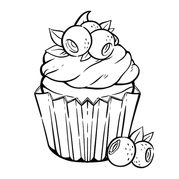 Premium Vector Coloring Page With Cute Cupcake Cream Blueberry Leaves Muffin With Berries In Kawaii Style