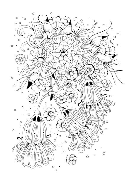 花とつぼみの着色のページ。ベクトルイラスト。着色のための黒と白の背景。 Premiumベクター