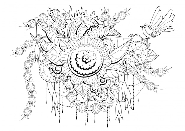 Coloring page with flowers, buds and bird. Premium Vector
