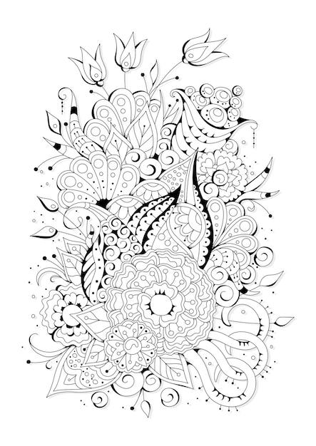 大小の花でページを着色します。着色のための黒と白の背景。 Premiumベクター
