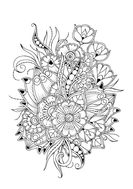 ヴィンテージの花の着色のページ。着色のための黒と白のベクトルの背景。 Premiumベクター