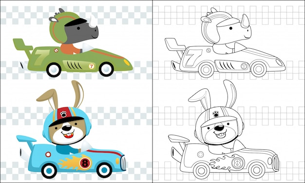 Coloring race car cartoon with funny racer Premium Vector