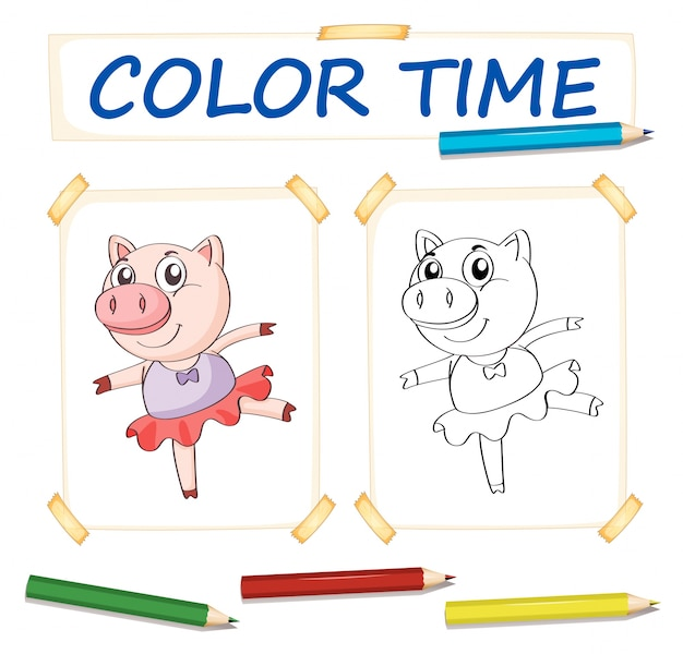 Coloring template with pig in ballet dress Vector | Free Download