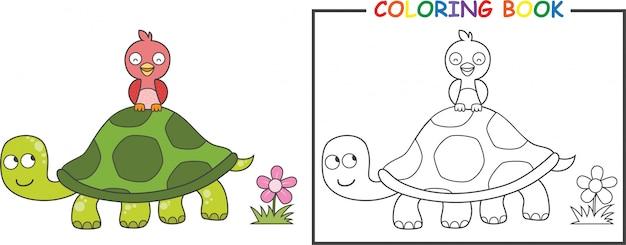 Premium Vector Coloring Turtle And Bird