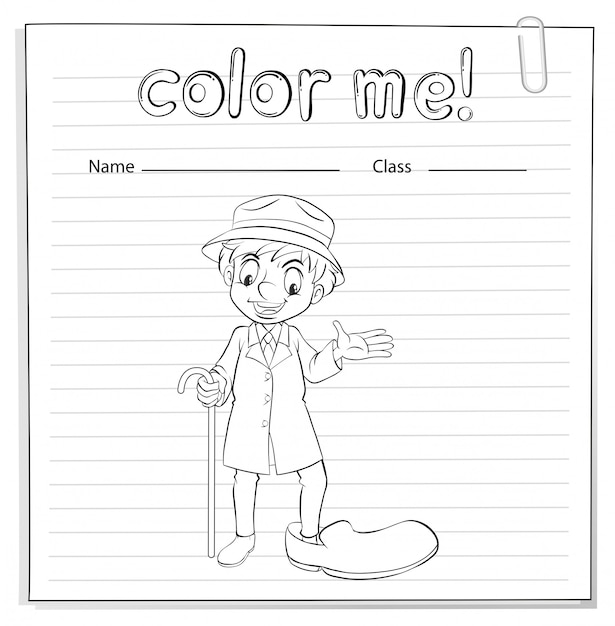 A coloring worksheet with a man Free Vector