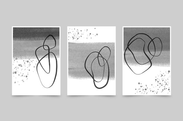 無色の抽象的な水彩カバーコレクション 無料ベクター