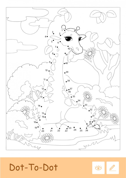 森のキリンとフレームの無色の輪郭のドットツードットのイラスト。野生動物、哺乳類、草食動物の就学前の子供たちが、挿絵と発達活動を着色しています。 Premiumベクター