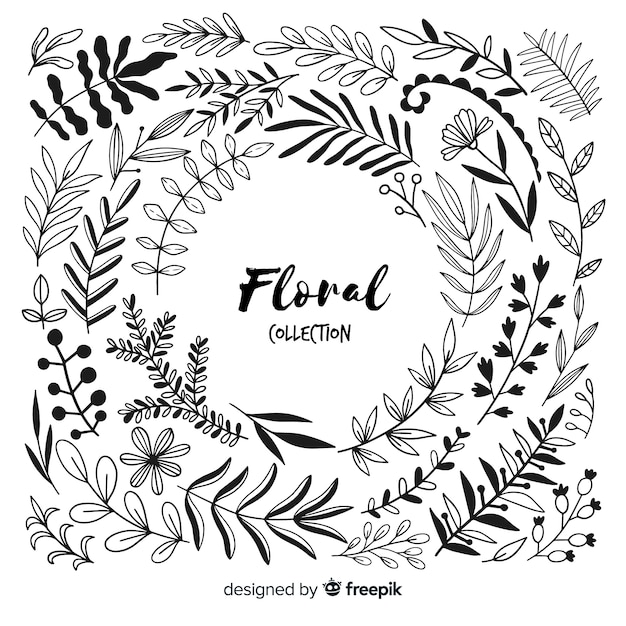 Colorless floral decoration elements Free Vector