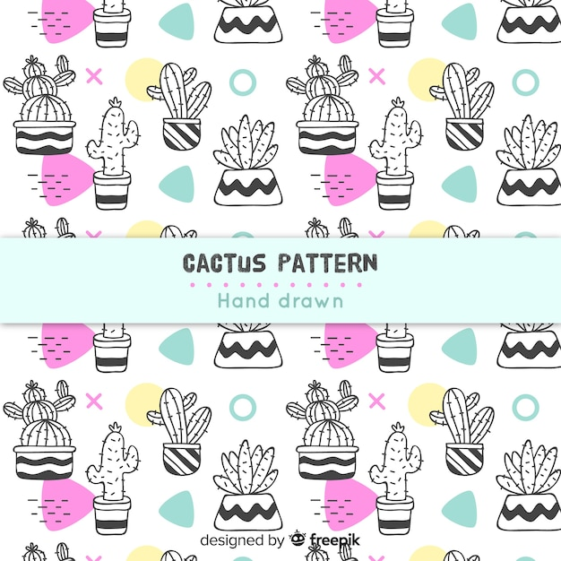 Colorless hand drawn cactus pattern Free Vector