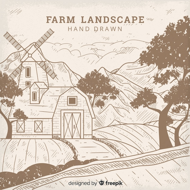 Colorless hand drawn farm landscape background Free Vector