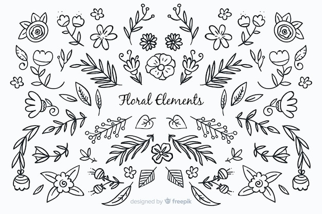 Colorless hand drawn floral decorative elements Free Vector
