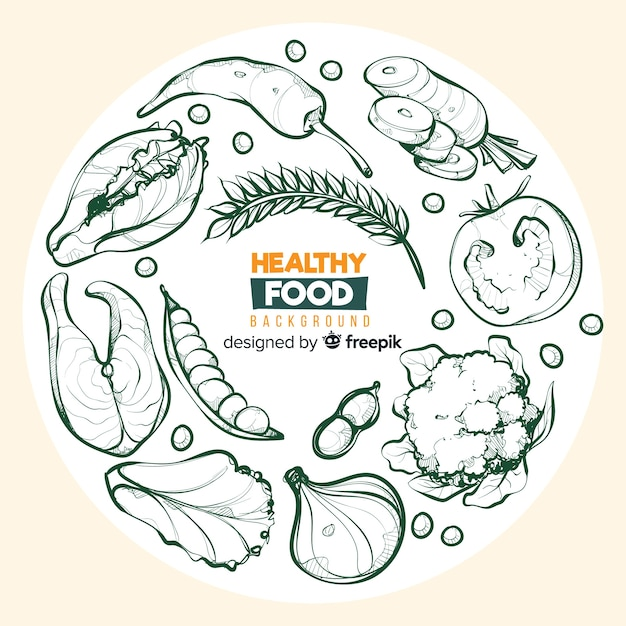Free Vector Colorless Hand Drawn Healthy Food Background