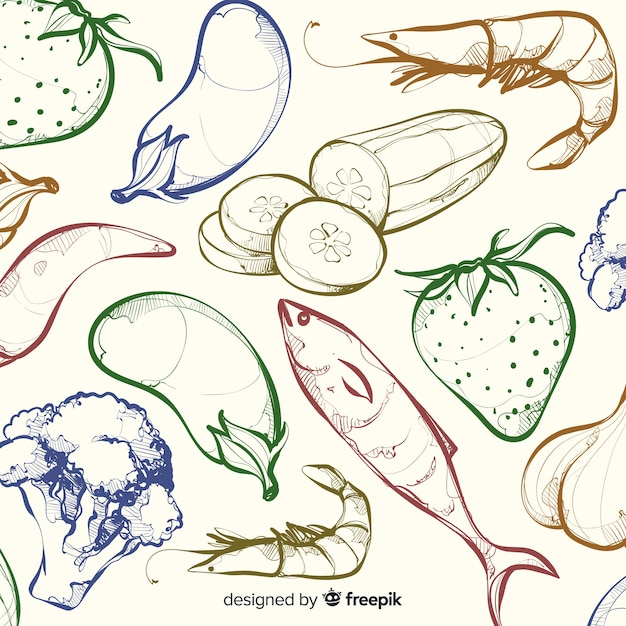 Colorless hand drawn healthy food  background Free Vector