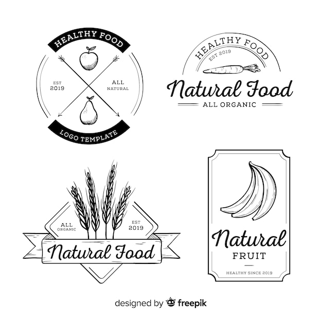Colorless hand drawn healthy food logo set Free Vector