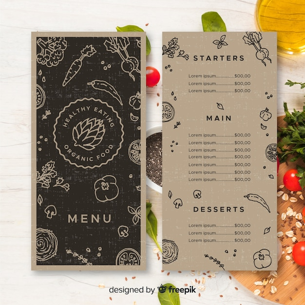 Colorless healthy menu template Free Vector