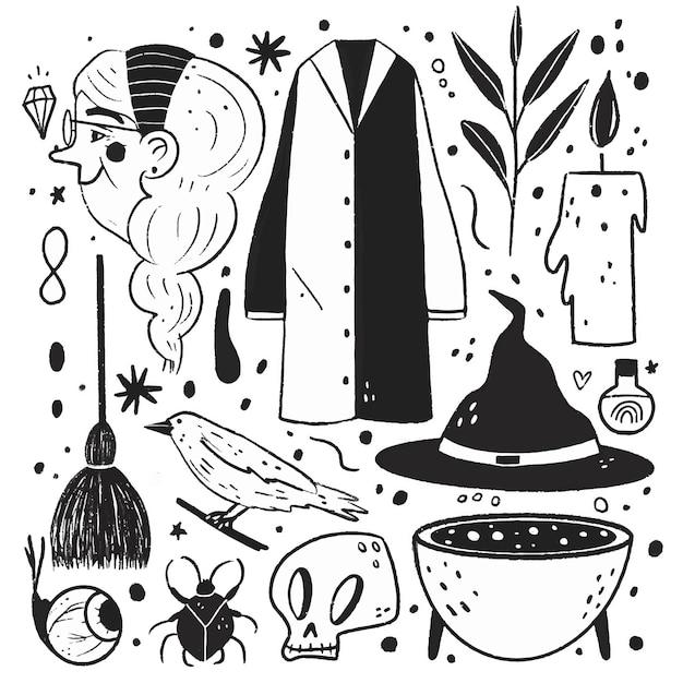 Illustrazioni incolori in design piatto Vettore gratuito