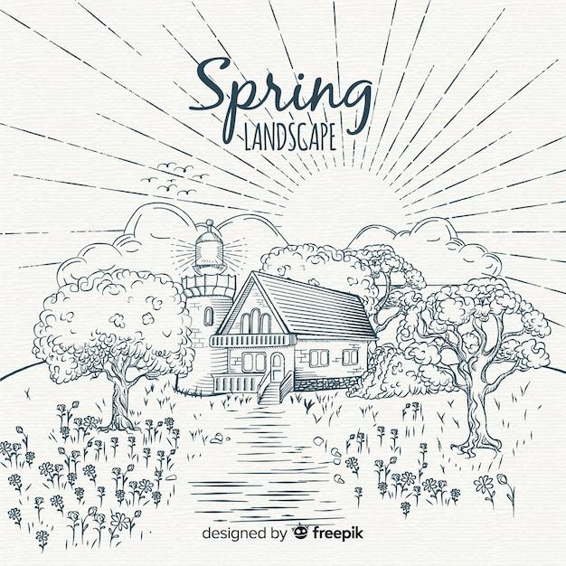 Sfondo di primavera del paesaggio incolore Vettore gratuito