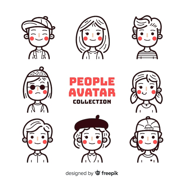 Colorless people avatar pack Free Vector