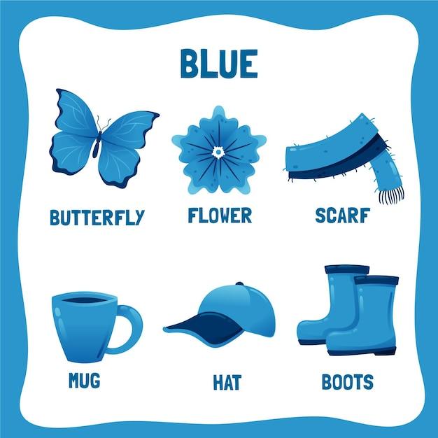 英語で設定された色と語彙 無料ベクター