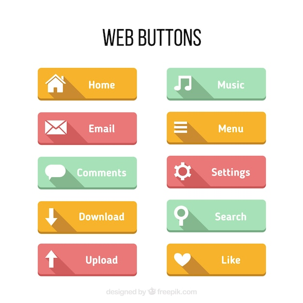 Colors buttons for web in a flat design vector premium Website home image