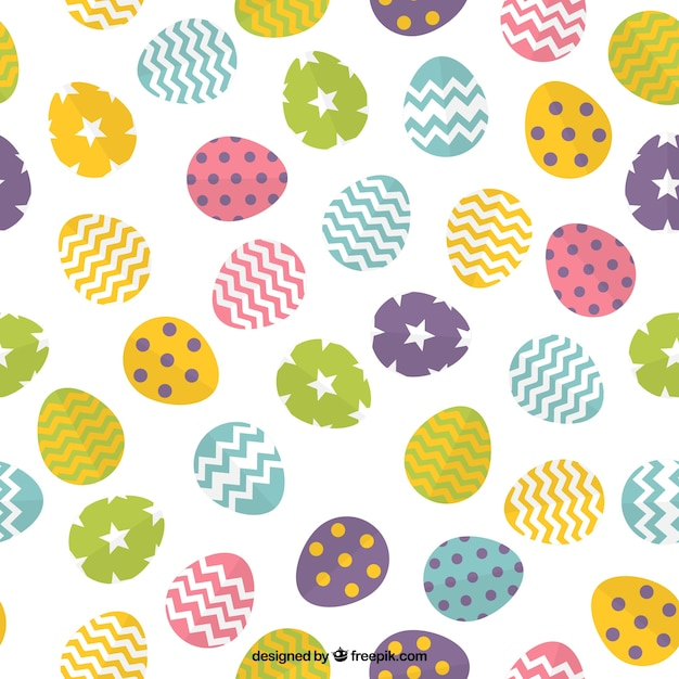 Colors Easter Eggs Pattern With Shapes Vector
