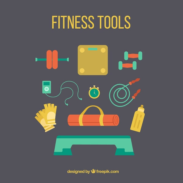 Colors fitness tools collection
