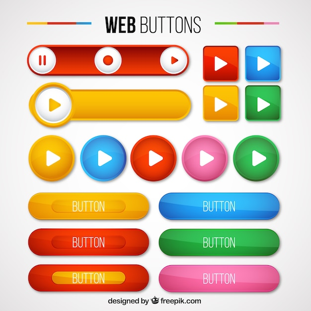 Colors Kinds Of Web Buttons Pack Free Vector