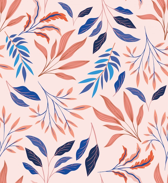 Colors leafs natural pattern background Free Vector